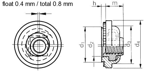 Self-clinching fasteners - PEM® - Self-locking floating nuts