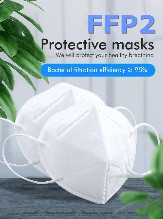 FFP2 Máscara Facial Médica Descartável - FFP2 Máscara facial de 5 camadas para individual Máscara facial descartável CE