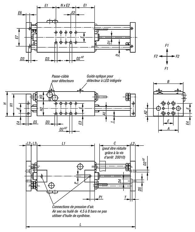 Module linéaire pneumatique avec deux guidages cylindriques - Modules linéaires et portiques pneumatiques