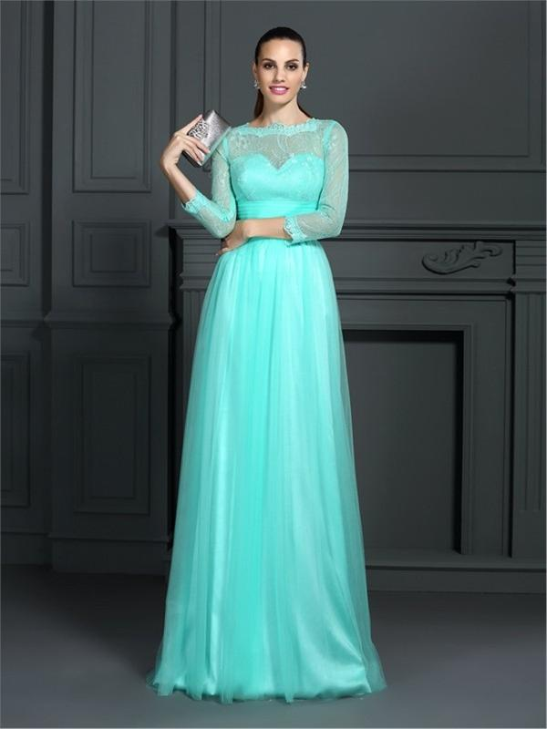 Long Sleeve Evening Dress - Long Eveningdress