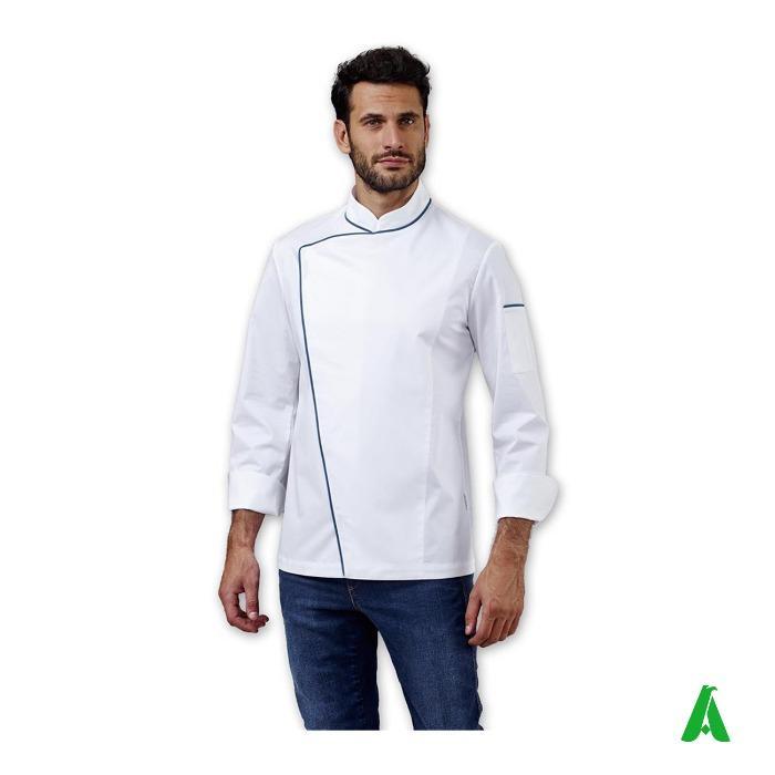 Giacca da chef profilata con logo - Giacca da chef con chiusura diagonale bottoni e taschino personalizzabile