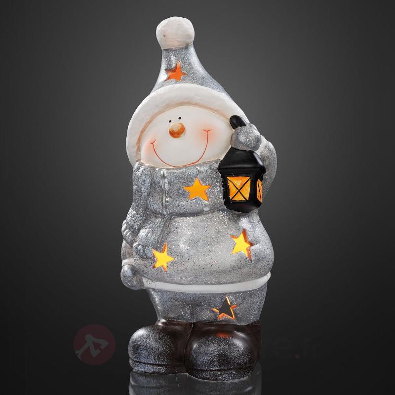 Lampe déco LED RVB bonhomme de neige en céramique - Décorations de Noël LED d'intérieur