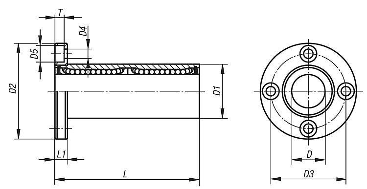 Palier linéaire à bille avec bride, double palier - Système de guidage linéaire