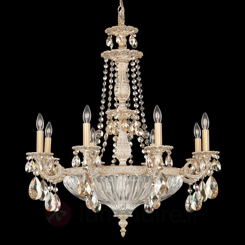 Lustre blanc-doré Milano avec des cristaux - Lustres en cristal