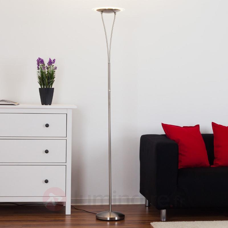 Lampadaire LED métallique Sybille, nickel mat - Lampadaires LED à éclairage indirect