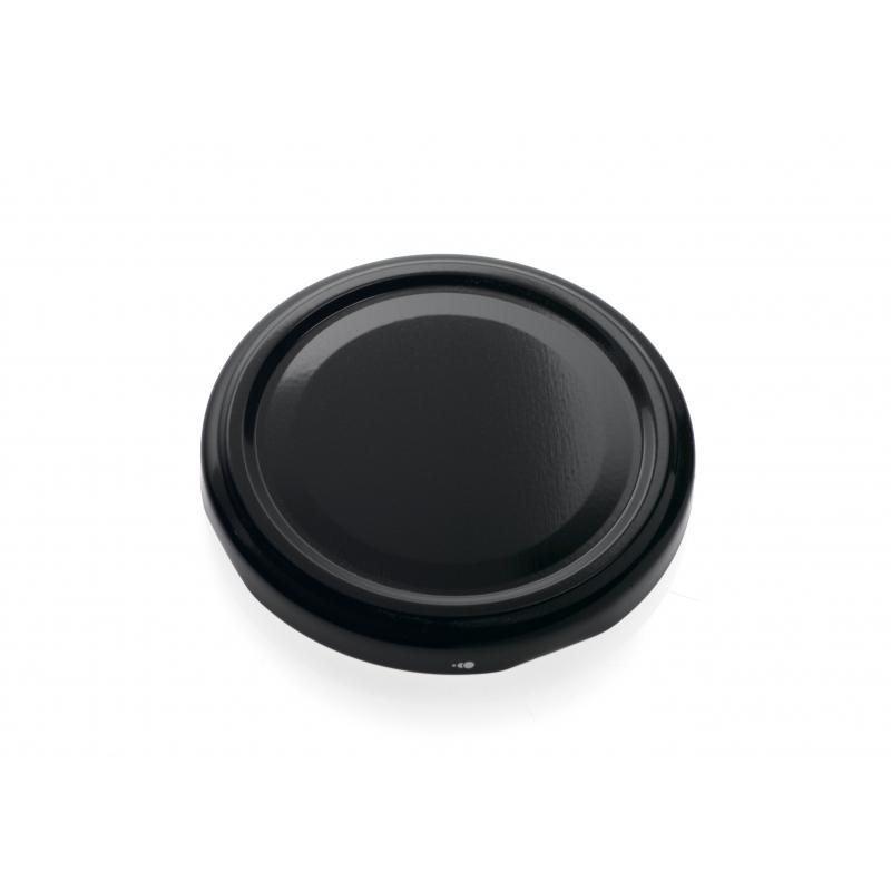 100 capsules TO 43 mm noires pasteurisables à visser pour bocaux en verre - NOIR
