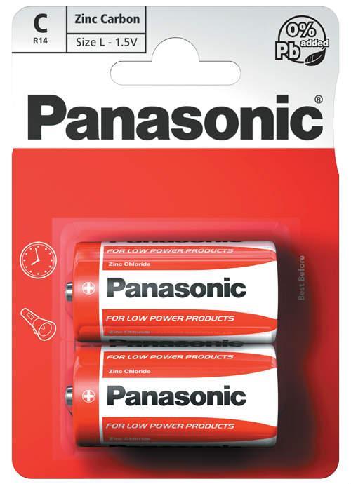 Batterie mezza torcia zinco carbone 2 pz - R14RZ/2BP | Blister da 2 pile C Panasonic