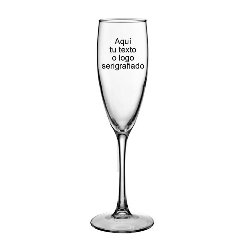 Copa de Champán - Copa de cristal para beber champán personalizable con su texto