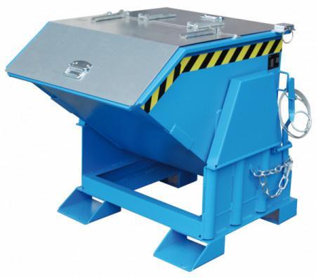 Kippbehälter Typ GU, Anbaugerät für Gabelstapler - Behälter mit Einfahrtaschen für Gabelzinken und mit integriertem Kippmechanismus