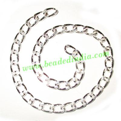 Silver Plated Metal Chain, size: 1.5x7.5mm, approx 13.3 mete - Silver Plated Metal Chain, size: 1.5x7.5mm, approx 13.3 meters in a Kg.