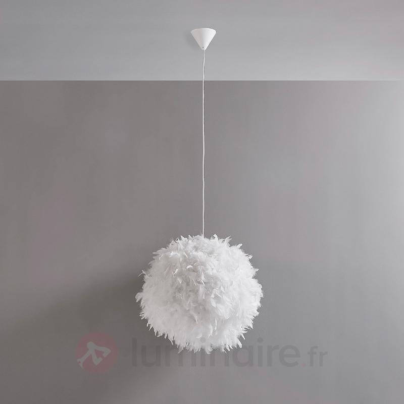 Suspension LED Pauline ornée de plumes - Suspensions en tissu