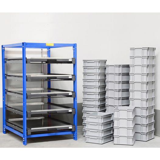 Compact pull-out rack 70 % with 3 - 7 shelves - Load capacity: 200 kg per shelf