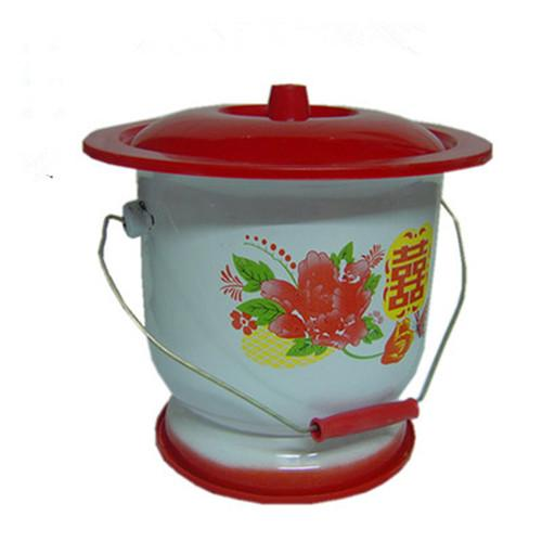 Enamel foot spittoon with handle 26 cm - 26 cm
