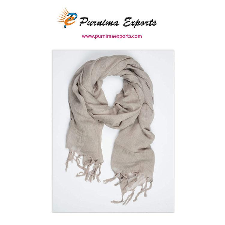 Linen Scarves with Hand Made Tassels - Manufacturer & Exporters | Minimum Order - 50 pcs