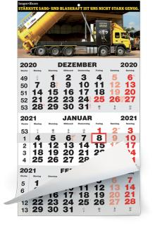 3-Monatsplaner - 3-Monats-Wandkalender Classic grau - 1-sprachige deutsche Ausgabe