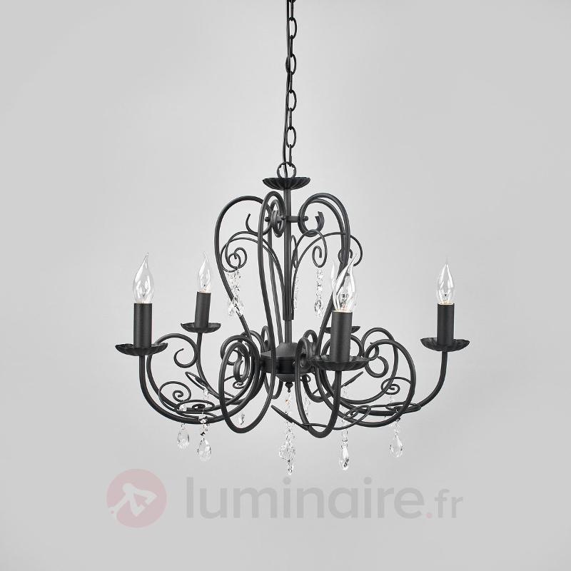 Lustre à 5 lampes Sophina en noir - Lustres classiques,antiques