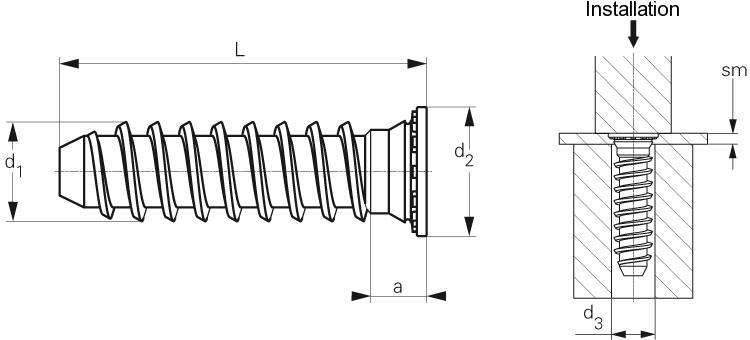 Self-clinching fasteners - PEM® - Self-clinching flush head stud for sheet metal