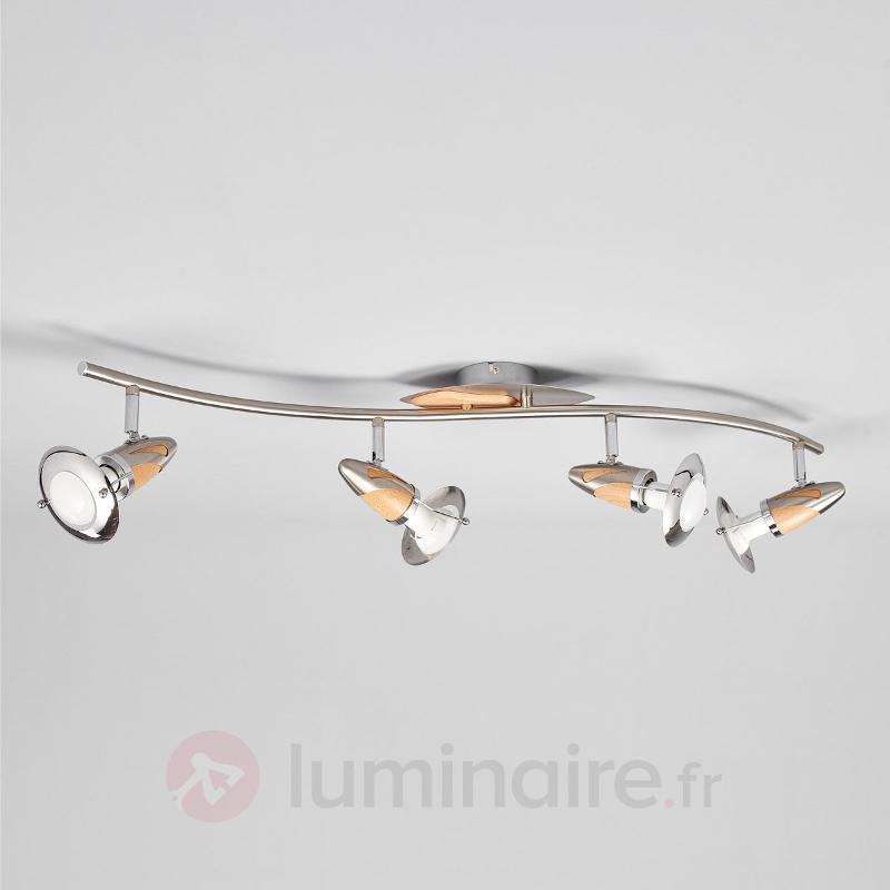 Plafonnier en bois Sharleen à quatre lampes - Plafonniers LED