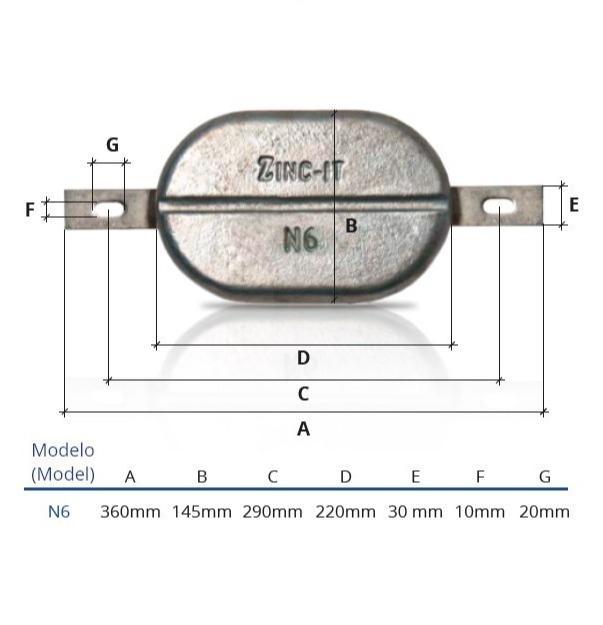 Ânodo de zinco para protecção catódica - Ânodos de casco N6