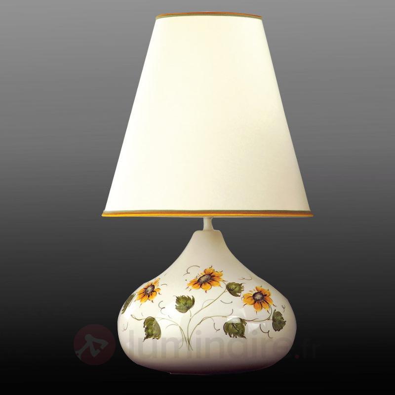 Lampe à poser Rusticana en céramique à abat-jour - Lampes à poser en tissu