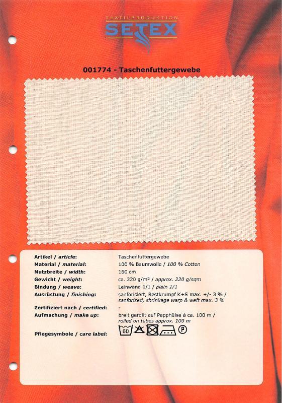 Pocket lining fabric - Pocket lining fabric