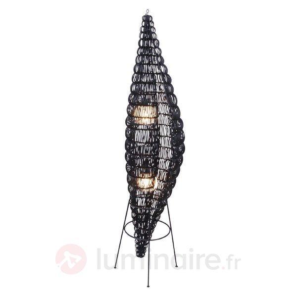 Lampadaire authentique en bois Waab, brun noir - Lampadaires rustiques