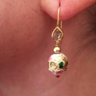 Boucles d'oreilles - Or22ct, émail, diamants, Inde