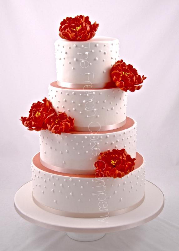 Gâteaux et Pièces Montées sur-mesure - Gâteau de mariage pivoines