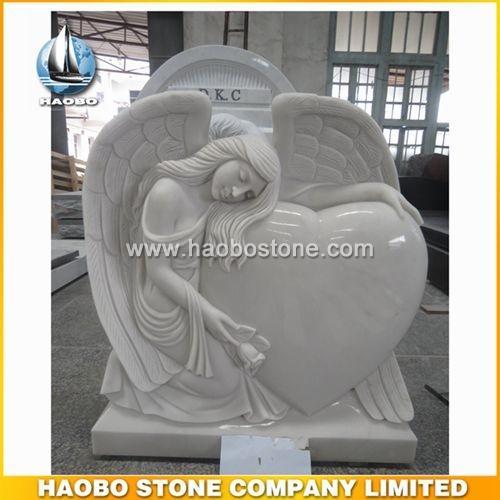 Chinese White Marble Angel Tombstone - Irish Headstone