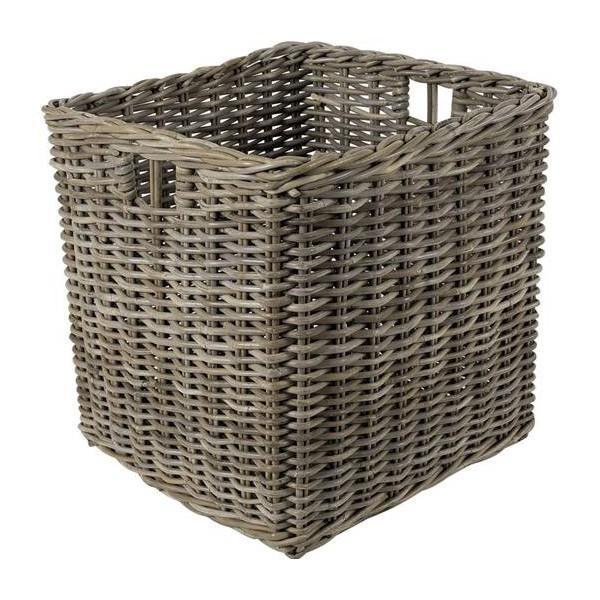 Cache-pot carré rotin gris - null