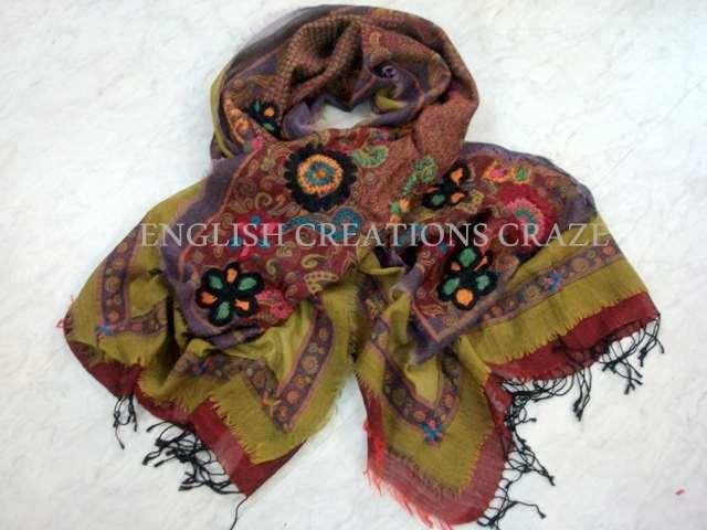 Wool Cotton Jacquard Multi Color Shawls - Wool Cotton Jacquard Multi Color Shawls