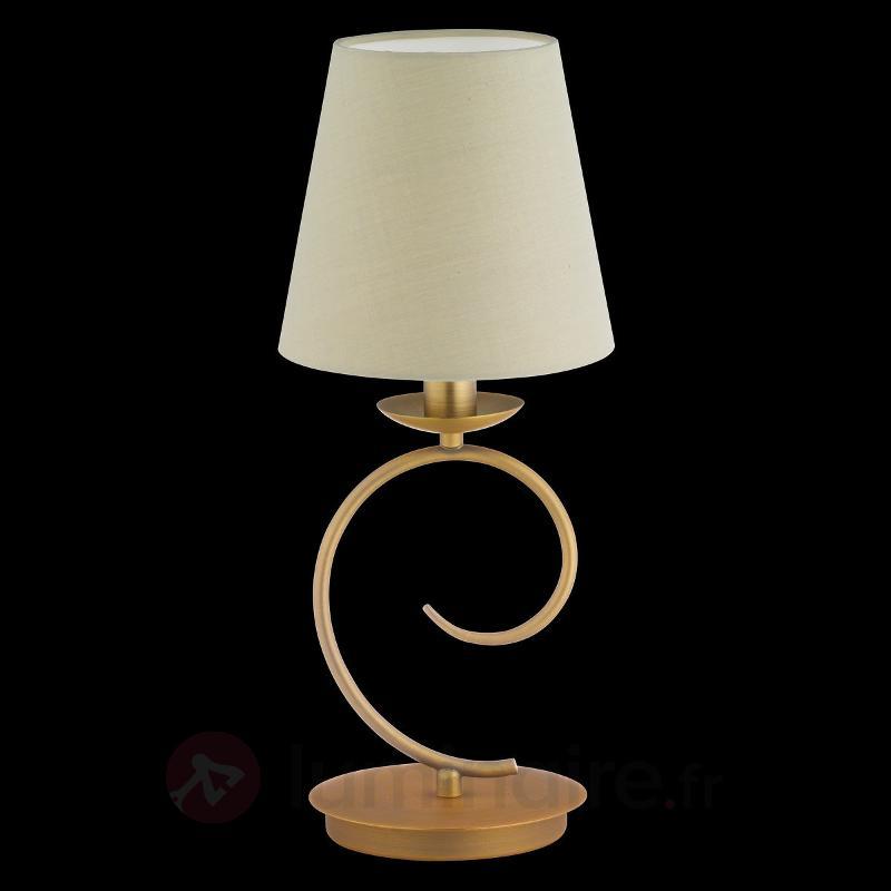 Lampe à poser Twist bronze avec abat-jour - Lampes à poser en tissu