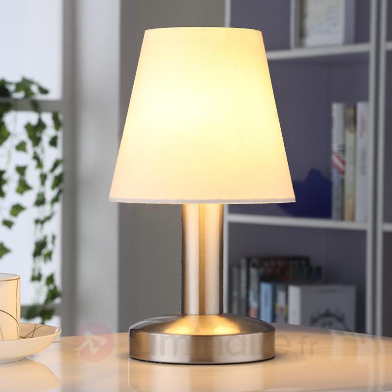 Lampe de chevet Hanno abat-jour en textile blanc - Lampes à poser en tissu