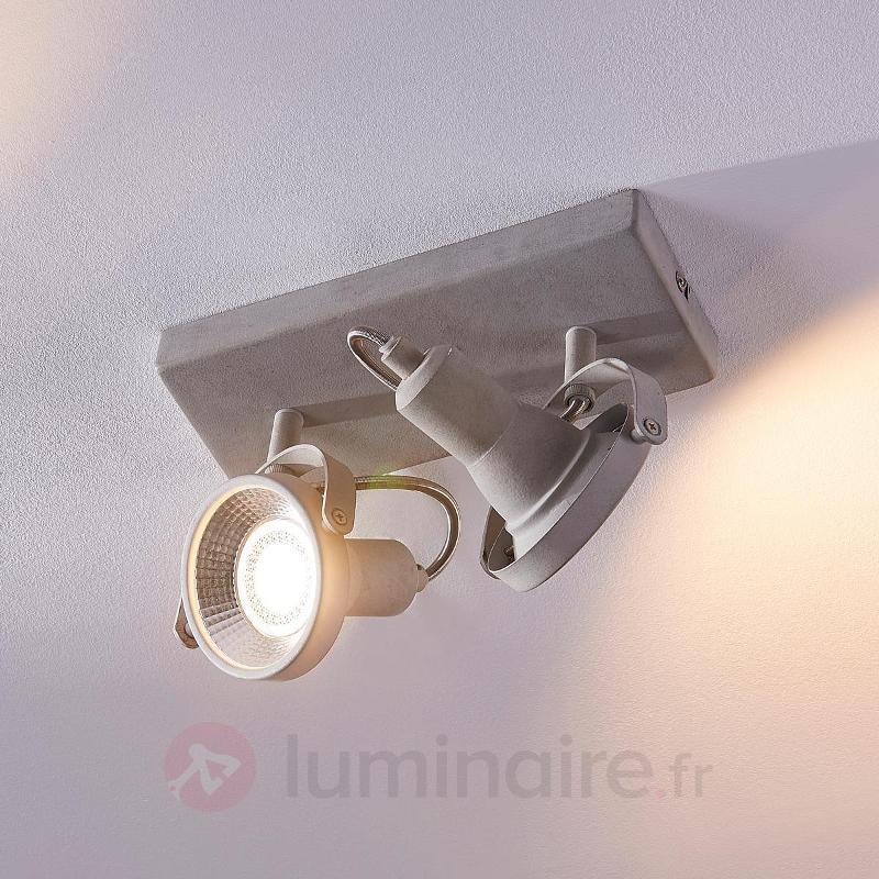 Pieter - projecteur LED à 2 lampes, aspect béton - Spots et projecteurs LED
