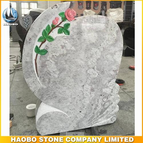 Kashmir White Granite Monument With Carved Rose Design