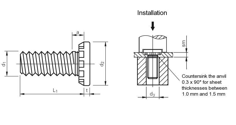 Self-clinching fasteners - PEM® - Self-clinching studs for sheet metal Type HFE