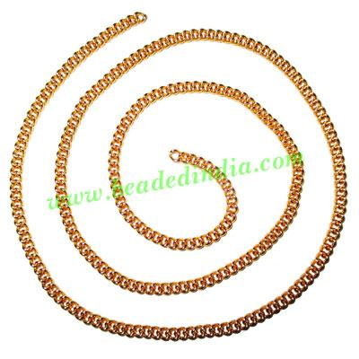 Gold Plated Metal Chain, size: 1x3mm, approx 36.3 meters in  - Gold Plated Metal Chain, size: 1x3mm, approx 36.3 meters in a Kg.