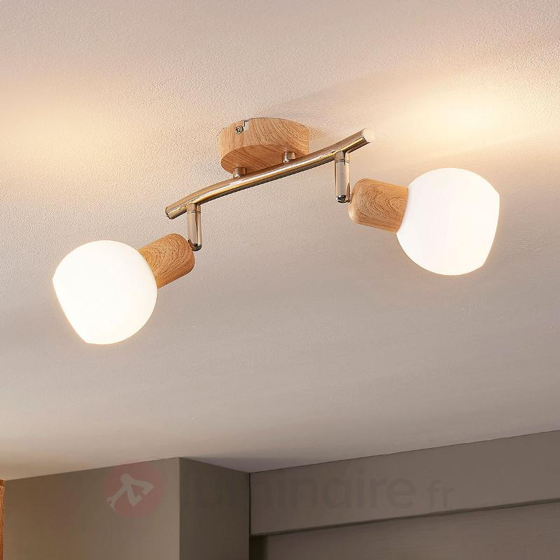 Spot LED en bois Svenka à 2 lampes - Spots et projecteurs LED