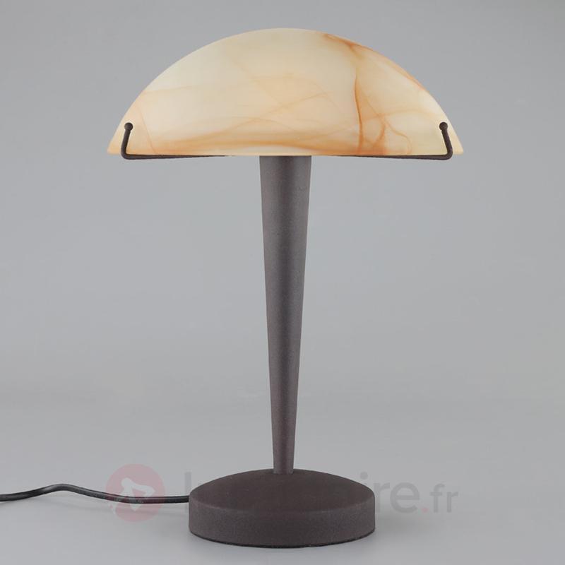Lampe à poser couleur rouille Viola verre ambré - Lampes de chevet