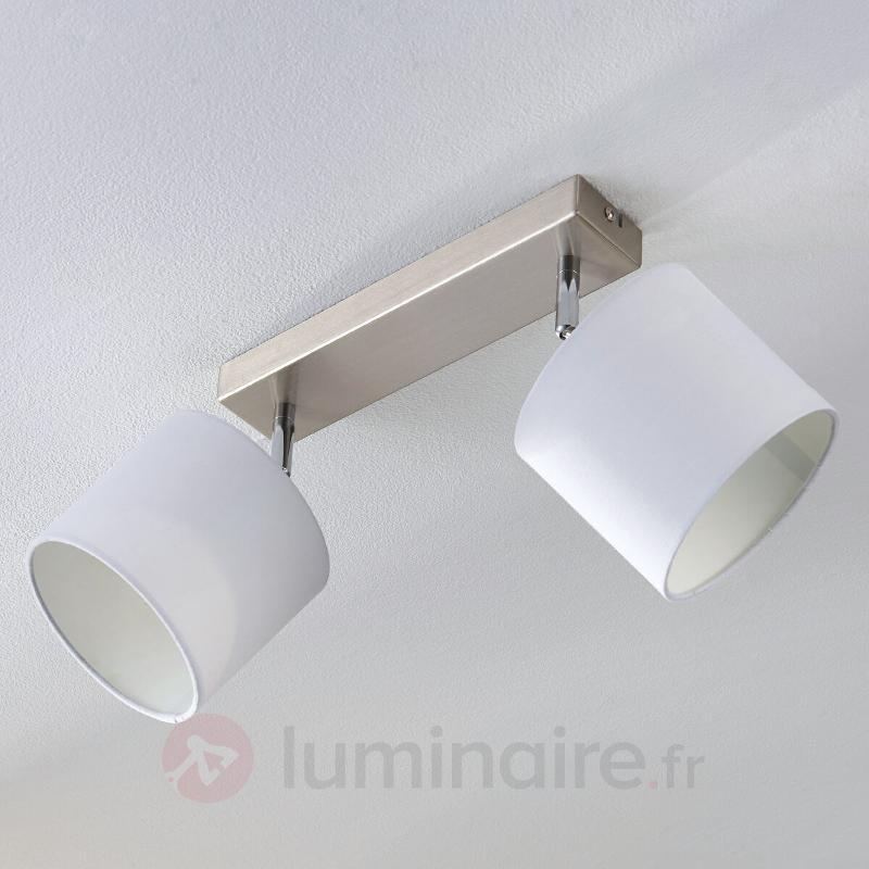 Plafonnier LED à 2 lampes avec abat-jour en tissu - Plafonniers en tissu