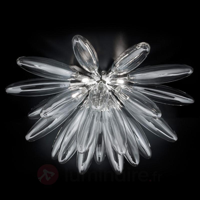 Plafonnier insolite Flo en verre transparent 85 cm - Plafonniers en verre