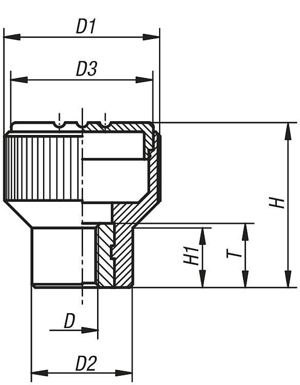 Knurled Knobs, internal thread, inch - K0247_IG Inch