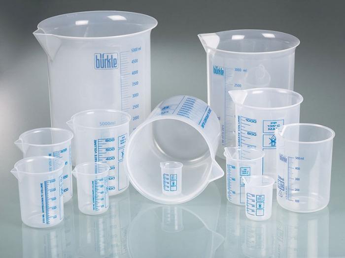 Béchers de laboratoire, béchers de Griffin PP - Gobelet en plastique, PP, très transparent, appareil de mesure