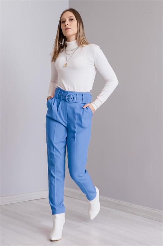 Yuksel Waist Belt Women Blue Pants - Women's Trousers