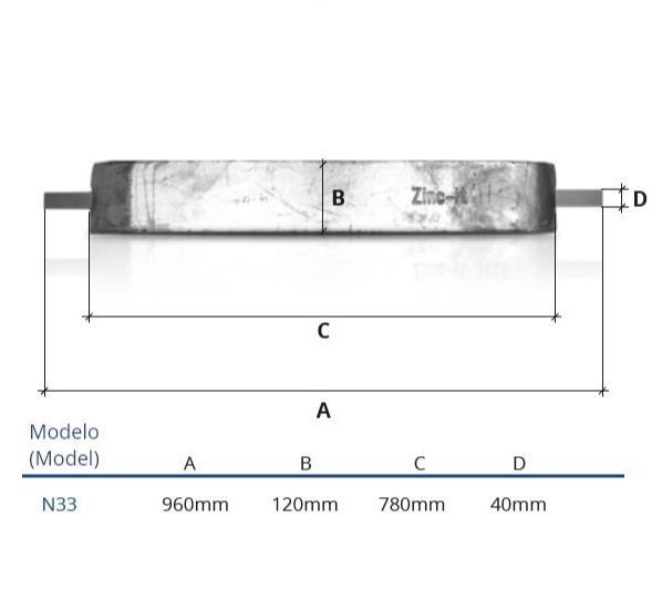 Ânodo de zinco para protecção catódica - Ânodos de casco N33