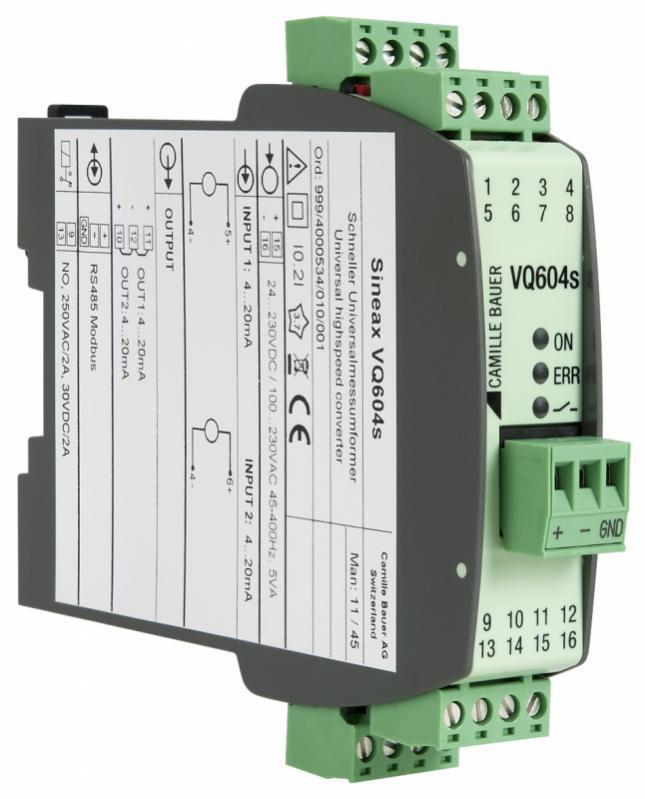 SINEAX VQ604s - Convertisseur de signaux programmable à temps de réponse très rapide
