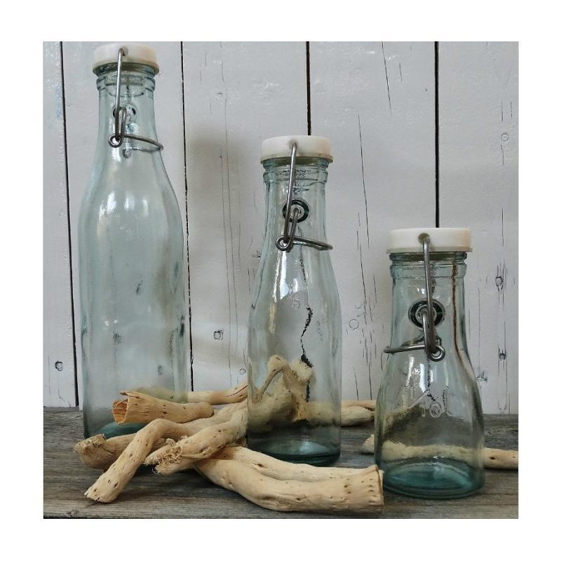 6 bouteilles en verre 100% recyclé avec fermeture mécanique (type limonade) modè - Vaisselle de Table