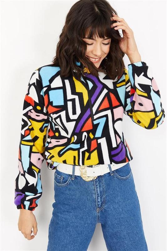 Women's Black Graphic Pattern Plush Sweatshirts - Women's Sweatshirts