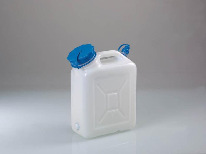 Bidon à col large avec/sans tubulure filetée - Bidon, HDPE, transparent, avec/sans connecteur fileté