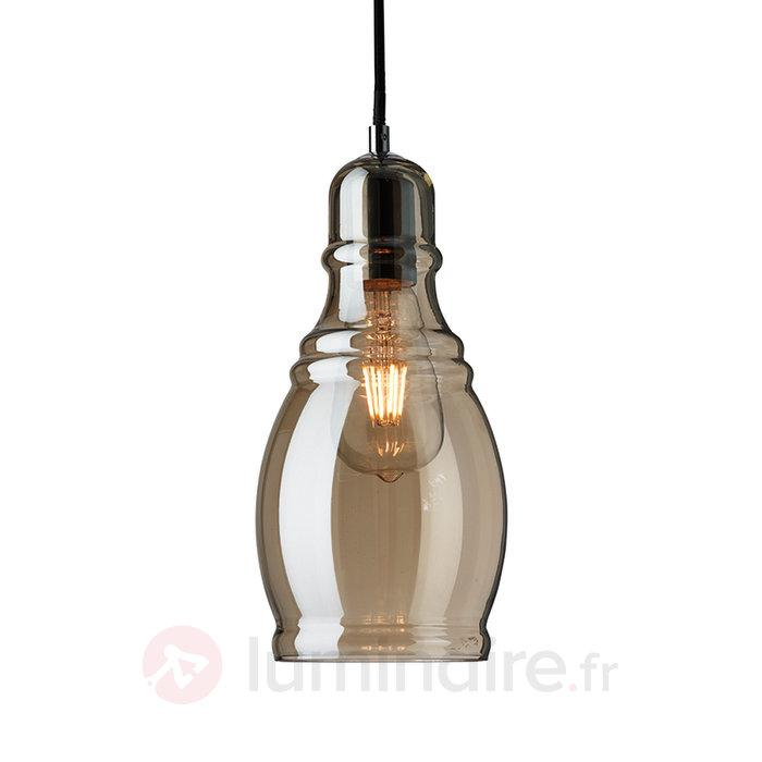 Suspension Olsson au style vintage couleur cognac - Suspensions en verre
